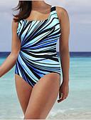 cheap One-piece swimsuits-Women's Basic Black Light Blue Light Brown One-piece Swimwear - Geometric XXXL XXXXL XXXXXL Black
