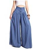 cheap Women's Pants-Women's Basic Bootcut / Wide Leg Pants - Solid Colored Blue / Loose