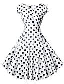 billige Kjoler-Dame Vintage 1950-tallet A-linje Kjole - Polkadotter, Trykt mønster Wrap V-hals Knelang