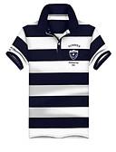 お買い得  メンズTシャツ&タンクトップ-男性用 Polo シャツカラー スリム ストライプ コットン グレー XL / 夏