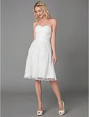 billiga Brudklänningar-A-linje Axelbandslös Knälång Spets Bröllopsklänningar tillverkade med Korsvis av LAN TING BRIDE®
