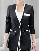 hesapli Blazerlar-Kadın's Blazer Çentik Yaka Polyester Siyah L / XL / XXL