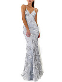 cheap Evening Dresses-Mermaid / Trumpet Plunging Neck Floor Length Crepe / Sequined Formal Evening Dress with Sequin by LAN TING Express