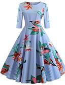 cheap Vintage Dresses-Women's Vintage Swing Dress - Floral Print Cotton Black Red Yellow L XL XXL