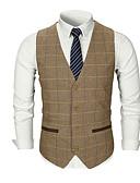 hesapli Erkek Blazerları ve Takım Elbiseleri-Erkek Günlük Temel Sonbahar Normal Vesta, Solid / Çizgili V Yaka Kolsuz Polyester Koyu Gri / Haki / Açık Gri L / XL / XXL