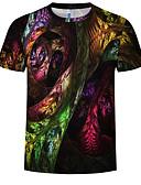 cheap Men's Tees & Tank Tops-Men's Daily Wear T-shirt - Color Block Rainbow XXXXL