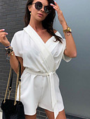 hesapli Kadın Tulumları-Kadın's YAKUT Doğal Pembe Fuşya Geniş Bacak İnce Tulum, Solid L XL XXL