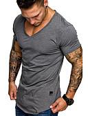 povoljno Muške majice i potkošulje-Veličina EU / SAD Majica s rukavima Muškarci Jednobojni V izrez Tamno siva