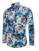 voordelige Herenoverhemden-Heren Overhemd Bloemen blauw