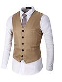 cheap Men's Blazers & Suits-Men's Vest, Solid Colored V Neck Polyester Black / Red / Khaki XL / XXL / XXXL