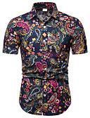 رخيصةأون سترات و بدلات الرجال-رجالي قميص قياس كبير ياقة كلاسيكية طباعة هندسي التقزح اللوني XXXL