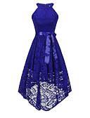 cheap Romantic Lace Dresses-Solid Colored Lace Dresses Women's Vintage Elegant Sheath Swing Trumpet / Mermaid Dress - Solid Colored Lace Bow Navy Blue Wine Royal Blue L XL XXL