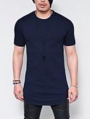 お買い得  メンズTシャツ&タンクトップ-男性用 Tシャツ ラウンドネック スリム ソリッド ブラック XXXL