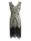 cheap Historical & Vintage Costumes-The Great Gatsby Vintage 1920s Costume Women's Party Costume Masquerade Flapper Dress Red / black / Green / Black & White Vintage Cosplay Sequin Party Prom Sleeveless