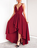 cheap Prom Dresses-Maxi Dress A-Line Plunging Neck Floor Length Chiffon Dress with Tier by LAN TING Express