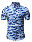 cheap Men's Shirts-Men's Shirt - Geometric / Camo / Camouflage Print Classic Collar Blue XL