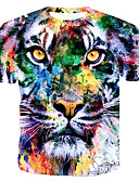 cheap Men's Tees & Tank Tops-Men's Cotton T-shirt - Color Block / 3D / Animal Print Round Neck Rainbow XL
