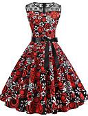 cheap Vintage Dresses-Women's Vintage Swing Dress - Floral Lace Bow Print Red L XL XXL