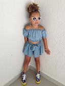 זול בגדי ים לבנות-סט של בגדים שרוולים קצרים אחיד בנות ילדים / פעוטות
