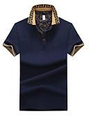 זול חולצות פולו לגברים-אחיד צווארון חולצה מידות גדולות כותנה, Polo - בגדי ריקוד גברים דפוס לבן