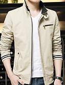 hesapli Erkek Ceketleri ve Kabanları-Erkek Günlük Bahar AB / ABD Beden Normal Ceketler, Solid Dik Yaka Uzun Kollu Polyester Bej / Sarı / Şarap