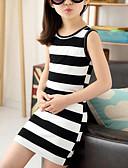 Χαμηλού Κόστους Φορέματα για κορίτσια-Παιδιά Κοριτσίστικα χαριτωμένο στυλ / Κομψό στυλ street Ριγέ Αμάνικο Ρεϊγιόν Φόρεμα Μαύρο