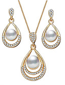 cheap Women's Sweaters-Women's 3D Jewelry Set Imitation Pearl, Rhinestone Pear Stylish, Classic Include Drop Earrings Pendant Necklace Gold / Silver For Gift Daily