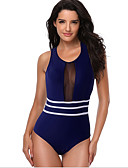 cheap One-piece swimsuits-Women's Blue Black Cheeky One-piece Swimwear - Solid Colored M L XL Blue
