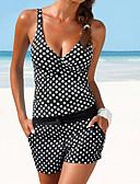 povoljno Bikinis-Žene Plava Crn Tankini Kupaći kostimi - Na točkice L XL XXL Plava