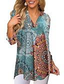 preiswerte Bluse-Damen Geometrisch Hemd, V-Ausschnitt Druck Rosa L