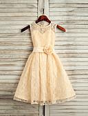זול שמלות לילדות פרחים-גזרת A באורך הקרסול שמלה לנערת הפרחים  - תחרה / סאטן ללא שרוולים עם תכשיטים עם סרט על ידי