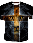 hesapli Erkek Tişörtleri ve Atletleri-Erkek Pamuklu Yuvarlak Yaka Tişört Desen, Hayvan Gökküşağı