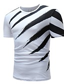 cheap Men's Belt-Men's Cotton T-shirt - Striped Print Round Neck White XL