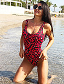 cheap One-piece swimsuits-Women's Basic Red Triangle Cheeky One-piece Swimwear - Leopard Backless S M L Red