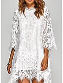 cheap Romantic Lace Dresses-2019 New Arrival Dresses Women's Basic Sheath Dress Elbise Vestidos Robe Femme - Solid Colored Lace White Black XXXL XXXXL XXXXXL