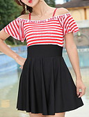 cheap One-piece swimsuits-Women's Black Red Royal Blue Skirt One-piece Swimwear - Striped M L XL Black
