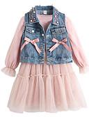 hesapli Kız Çocuk Kıyafet Setleri-Çocuklar Toddler Genç Kız Temel Sokak Şıklığı Çiçekli Boncuklar Fiyonklar Örümcek Ağı Uzun Kollu Pamuklu Kıyafet Seti Doğal Pembe