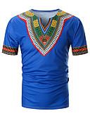 abordables Camisetas y Tops de Hombre-Hombre Retazos / Estampado - Algodón Camiseta, Escote en Pico Floral / Bloques Amarillo XL