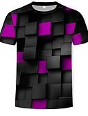 billige T-shirts og undertrøjer til herrer-Rund hals Herre - Geometrisk / Farveblok / 3D Bomuld, Trykt mønster T-shirt Regnbue XL