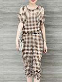 זול חליפות שני חלקים לנשים-מכנס קפלים, משובץ דמקה - סט שרוול עלי כותרת פעיל / מתוחכם ליציאה מידות גדולות בגדי ריקוד נשים / קיץ
