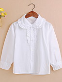 cheap Girls' Tops-Kids Girls' Active Solid Colored Long Sleeve Cotton Shirt White