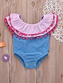 cheap Girls' Pants & Leggings-Kids Girls' Basic Cute Solid Colored Tassel Sleeveless Cotton Swimwear Blue