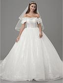 ราคาถูก ชุดแต่งงาน-เจ้าหญิง ไหล่ตก ชายกระโปรงคอร์ท Tulle / เลื่อม ชุดแต่งงานที่ทำขึ้นเพื่อวัด กับ ของประดับด้วยลูกปัด / โบว์ โดย LAN TING BRIDE® / ซีทรู