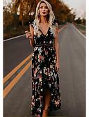 tanie Suknie balowe-Krój A Głęboki dekolt Sięgająca podłoża Szyfon Sukienka z Wzór / Nadruk przez LAN TING Express