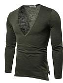 hesapli Erkek Tişörtleri ve Atletleri-Erkek V Yaka Tişört Solid Siyah