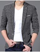 hesapli Erkek Blazerları ve Takım Elbiseleri-Erkek Blazer, Solid Çentik Yaka Polyester Gri / Şarap / Haki XL / XXL / XXXL