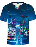 levne Chlapecké topy-Děti Chlapecké Aktivní Tisk Krátký rukáv Bavlna / Spandex Košilky Vodní modrá