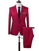povoljno Koža-Muškarci odijela, Jednobojni / Color block Klasični rever Akril / Poliester Svjetloplav / Žutomrk / Navy Plava