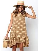 abordables Vestidos de Mujer-Mujer Algodón Recto Vestido - Estampado, A Lunares Sobre la rodilla