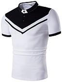 levne Pánské kalhoty a kraťasy-Pánské - Jednobarevné / Proužky Polo, Patchwork Bavlna Košilový límec Bílá XL